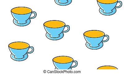 Seamless pattern of repeating glasses and ceramics cups with...