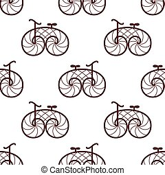 seamless pattern of retro bicycle