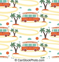 Seamless pattern of retro Bus with surfboard in beach with...