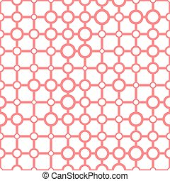 Seamless pattern of rings on a white background.