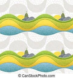 Seamless pattern of Rio de Janeiro, Brazil.