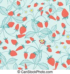 Seamless pattern of ripe strawberries