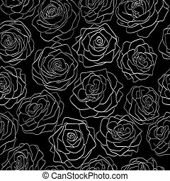 seamless pattern of roses on a black background