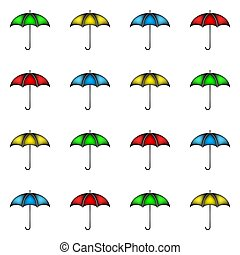 Seamless pattern of row colorful umbrellas, background