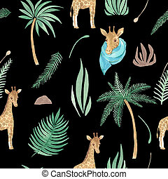Seamless pattern of Safari animal and palm trees plants Watercolor illustration children's design Wallpaper fabric paper pack on black background