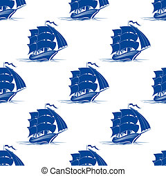 Seamless pattern of sailing ship