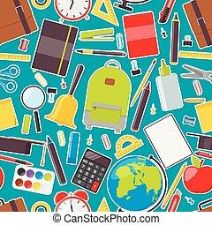 Seamless pattern of school supplies. Vector illustration