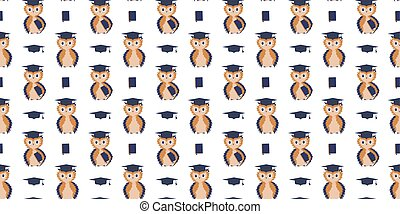 Seamless pattern of scientists owls with textbooks under the...