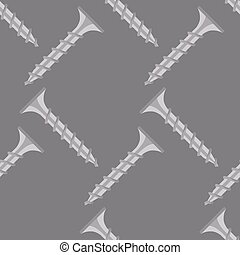Seamless pattern of screws on a gray background. Vector.