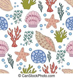 Seamless pattern of sea animals and corals in vector graphics on a white background. For the design of childrens, cartoon illustrations, postcards, prints, stikers, covers for notebooks