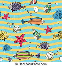 Seamless pattern of sea life on the seashore - Seamless...