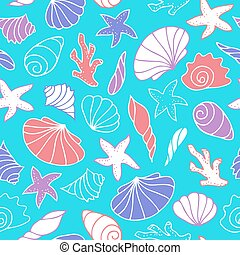 Seamless pattern of seashells.