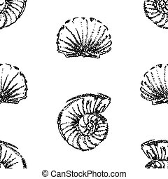 Seamless pattern of seashells sketches