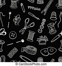Seamless pattern of sewing kit