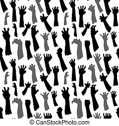Seamless pattern of silhouette set of hands