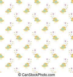 Seamless pattern of singing birds
