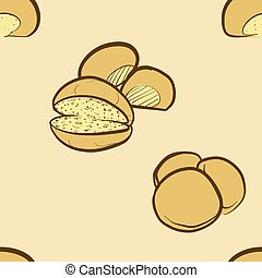 Seamless pattern of sketched Barm cake bread. Useable for wallpaper or any sized decoration. Handdrawn Vector Illustration