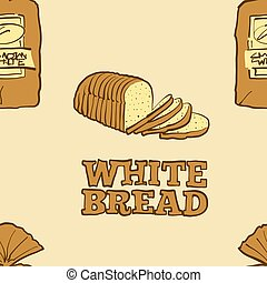 Seamless pattern of sketched Canadian White bread. Useable for wallpaper or any sized decoration. Handdrawn Vector Illustration