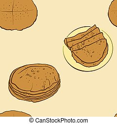Seamless pattern of sketched Flatbread bread. Useable for ...