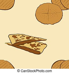 Seamless pattern of sketched Flatkaka bread. Useable for wallpaper or any sized decoration. Handdrawn Vector Illustration