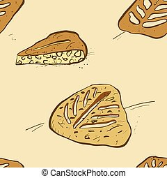 Seamless pattern of sketched Fougasse bread. Useable for ...