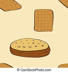 Seamless pattern of sketched Hardtack bread. Useable for ...