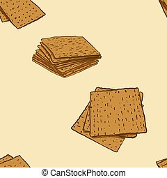 Seamless pattern of sketched Matzo bread. Useable for ...