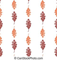 Seamless pattern of sketches autumn oak leaves