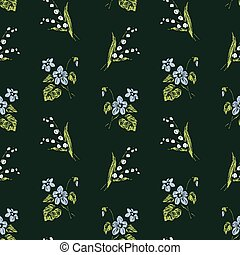 Seamless pattern of sketches lillies of the valley and forest violets
