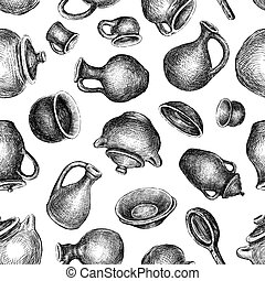 Seamless pattern of sketches of various pottery