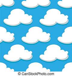 Seamless pattern of sky and white clouds