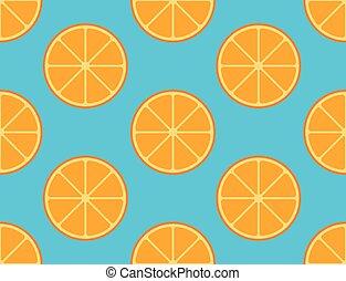 Seamless pattern of sliced orange fruit on blue background - vector illustration