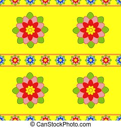 Seamless pattern of small and large red flowers with green leaves on a yellow background