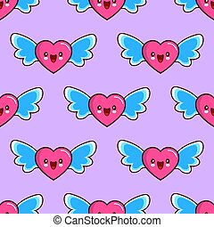 seamless pattern of smiling hearts with wings on purple background vector wallpaper textile Illustration Valentine s Day love
