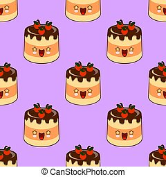 Seamless pattern of smiling kawaii style cake on a pink background Flat design illustration