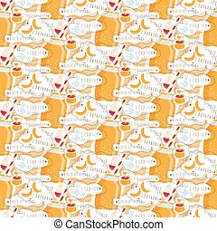Seamless pattern of smoothie of honey, banana and yogurt. Vector illustration