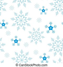 Seamless pattern of snowflakes and dots, blue on white background.