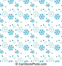 Seamless pattern of snowflakes and dots, blue on white