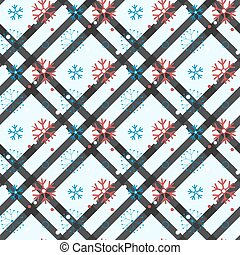 Seamless pattern of snowflakes and dots, blue on white eps 10