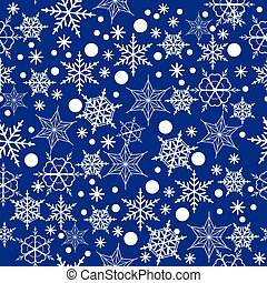 Seamless pattern of snowflakes on a blue background