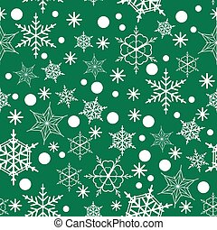 Seamless pattern of snowflakes on a Green background,