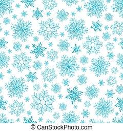Seamless pattern of snowflakes on white