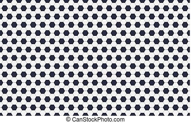 Seamless pattern of soccer or football with black and white hexagons. Horizontal, traditional sport texture of ball for game. Easily resizable and color, vector illustration