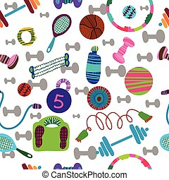 seamless pattern of sports equipment.