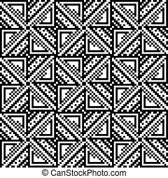 Seamless pattern of squares and triangles.