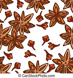 Seamless pattern of stars anise and cloves on a white background