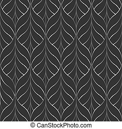 seamless pattern of stylized leaves and lines in a silver gradient on a dark gray background, texture Wallpaper