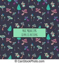 Seamless pattern of stylized magic mushrooms