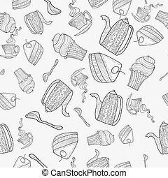 seamless pattern of subjects for tea - black and white...