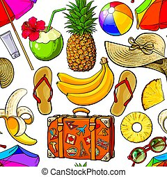 Seamless pattern of summer time vacation attributes, sketch...